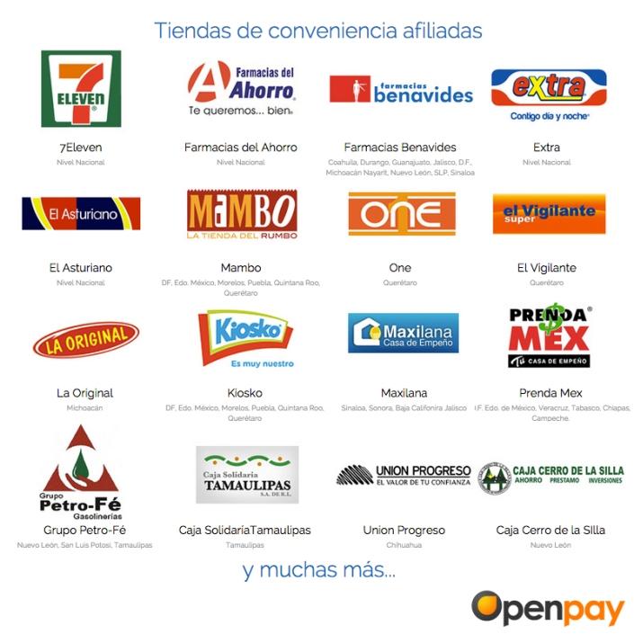 Tiendas de Conveniencia Afiliadas de Openpay